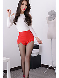 Women's Slim Shorts Pants,Party/Cocktail Street chic Solid High Rise Zipper PU Micro-elastic Spring Summer