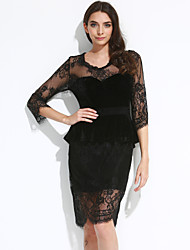 Women's Lace Mesh Insert Sleeved Peplum Dress