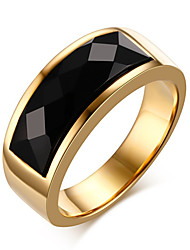 Men's Fashion 316L Titanium Steel Personality Vintage Onyx Agate Jewel Gold Plating Rings Casual/Daily 1pc