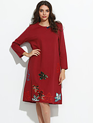Women's Casual/Daily Street chic Loose Thin Dress,Embroidered Round Neck Midi Long Sleeve Blue / Red Linen Fall
