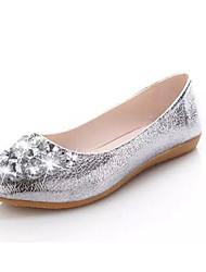 Women's Flats Fall Comfort PU Wedding Flat Heel Sparkling Glitter Silver / Gold