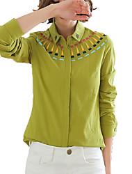 Feminino Camisa Social Casual Formal Trabalho Simples Primavera Outono,Sólido Vermelho Bege Verde Colorido Algodão Linho RaiomColarinho