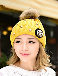 Autumn And Winter New Women'S Music Star Hair Ball Elastic Single Cap Wool Hat Outdoor Warm Knitted Hat