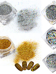 1g/box Gold/Silver Laser Ultrafine Powder Nail Art Pigment Glitter Decorations Holographic Dust 3d Sparkly Paillette ND286