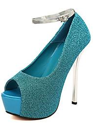 Feminino Sandálias Couro Ecológico Verão Casual Salto Agulha Preto Prata Roxo Azul 12 cm ou mais