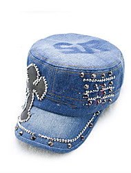 Fashion Cortical Diamond - Washed Denim Flat - Top Caps Korean Version Of The Women 'S Fashion Caps