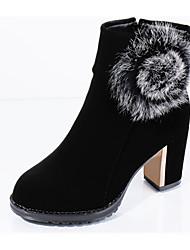Women's Heels Fall Winter Other Fleece Office & Career Casual Chunky Heel Feather Chain Black