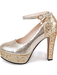 Women's Heels Spring Summer Fall Glitter Wedding Casual Party & Evening Chunky Heel Crystal Sequin Buckle Gold Silver