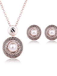 Women Wedding Bridal Round Pearl Rhinestone Pendant Necklace Earrings Two Sets Of Clavicle Chain