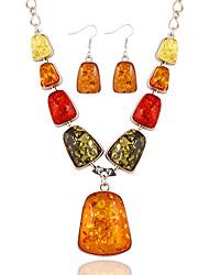 Бижутерия 1 ожерелье 1 пара сережек Цирконий Повседневные Янтарь 1 комплект Женский Разные цвета Свадебные подарки