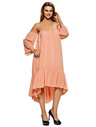 Women's Pinkish Apricot Sweetheart Off Shoulder Swing Dress