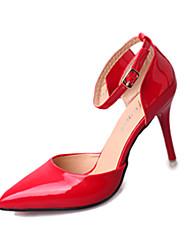 Damen-High Heels-Lässig-PU-Niedriger Absatz-Komfort-Schwarz Rot