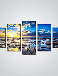 Unframed Blue Sunrise Canvas Print Art Seascape Painting  for  Wall Decoration (Total size 100cm L x50cm H  by 5pcs)