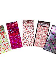 5pcs Colored Nail Art Foil Transfer Sticker Broken Glass Lipstick Manicures Tips Tool Women Party Supplies