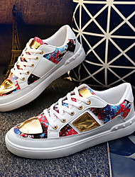 Men's Sneakers Spring Fall Fabric PU Casual Lace-up Split Joint White Black Red