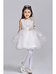 Princess Knee-length Flower Girl Dress - Cotton Crepe Sleeveless Jewel with Appliques Beading Bow(s)