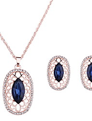 Women Wedding Bridal Hollow Oval Flower Blue Crystal Pendant Necklace Earrings Two Sets Of Clavicle Chain