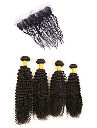Kinky Curly Virgin Hair Extensions Human Weave Weft Indian Texture Black Hair Remy 4 Bundle With 1 Lace Closure Good Price Deals