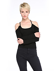 Women's Casual/Daily Sexy Spring T-shirt,Solid Off Shoulder Long Sleeve White / Black Cotton Opaque