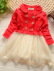 Girl's Cotton Casual Spring/Fall Going out Casual/Daily Lace Patchwork Skirt Sweet Long Sleeve Princess Dress