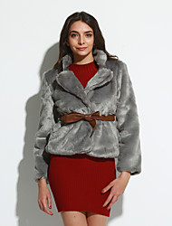 Women's Bow Rabbit Fur/Faux Fur Outerwear/Top,Belt Included