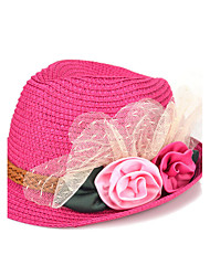 Girl's Fashion Cotton Summer Going out/Casual/Daily Solid Color Flower Sand Beach Headgear Baby Straw Hat Children Cap