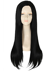Heat Resistant Synthetic Lace Front Wig Long Straight Hair Black Color Synthetic Hair Fiber Wig