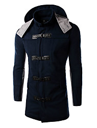 Men's Casual/Daily Simple Trench Coat,Solid Hooded Long Sleeve Winter Blue Wool Medium