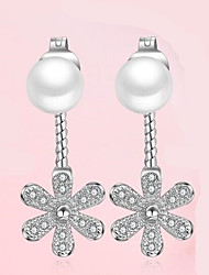 Zircon Flower Pearl Earrings