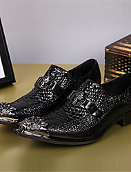 Men's Loafers & Slip-Ons Spring Fall Comfort Cowhide Casual Low Heel Metallic toe Black Other