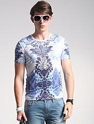 Herren Solide Geometrisch Einfach Lässig/Alltäglich T-shirt,Rundhalsausschnitt Frühling Sommer Kurzarm Blau Seide Mittel