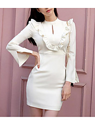 Women's Going out Sexy Bodycon Dress,Solid Crew Neck Midi Long Sleeve White Acrylic Spring Low Rise Micro-elastic Medium