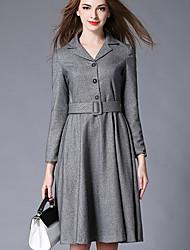 Feminino balanço Vestido, Trabalho Sofisticado Sólido Colarinho de Camisa Altura dos Joelhos Manga Longa Cinza Poliéster InvernoCintura