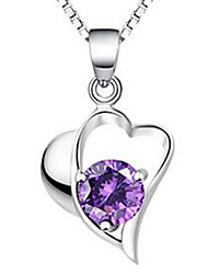 Women's Pendant Necklaces Crystal Sterling Silver Zircon Cubic Zirconia Heart Jewelry Basic Silver Jewelry Casual 1pc