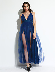 Women's Casual/Daily Sexy / Simple Backless Bodycon / Denim DressSolid Strapless Above Knee Sleeveless Summer Mid Rise