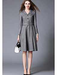Women's Casual/Daily Simple A Line Dress,Solid Shirt Collar Knee-length Long Sleeve Polyester Fall Mid Rise Micro-elastic Medium