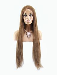 Top Grade Brazilian Virgin Hair Lace Front Wig Silky Long Staraight Hair Brown Color Virgin Human Hair Lace Wig For Fashion Woman