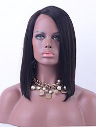 100% Brazilian Virgin Hair Full Lace Wig Straight Hair Natural Black Color Human Hair Lace Short Bob Wig For Black Woman