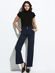 Women's OL Style Solid High Waist Bodycon Business / Wide Leg Trousers,Simple Blue / Red / Black
