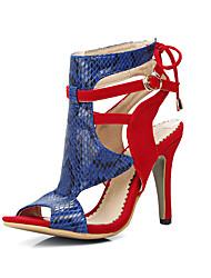 Damen-Sandalen-Lässig-PU-BlockabsatzSchwarz Rot