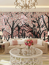 JAMMORY Art DecoWallpaper For Home Wall Covering Canvas Adhesive required Mural Peach Forest XL XXL XXXL