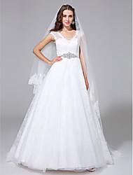 LAN TING BRIDE A-line Wedding Dress - Glamorous & Dramatic See-Through Court Train V-neck Lace with Crystal Sash / Ribbon
