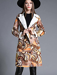 Women's Casual/Daily Simple Coat,Print Long Sleeve Multi-color Cotton