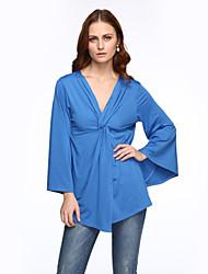 Damen Solide Übergröße / Sexy Lässig/Alltäglich T-shirt,Tiefes V Sommer Langarm Blau Polyester Mittel