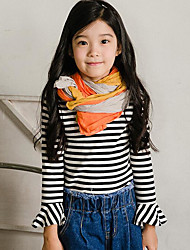 Girl Casual/Daily Striped Tee,Rayon Fall Long Sleeve Regular