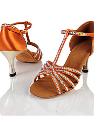 Women's Sandals Summer Other Satin Dress Stiletto Heel Sparkling Glitter Buckle Light Brown Fitness & Cross Training