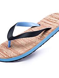 Men's Slippers & Flip-Flops Summer Comfort PU Outdoor Casual Flat Heel Black Blue Red White Walking