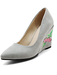 Women's Heels Spring Summer Fall Other Cashmere Office & Career Party & Evening Casual Wedge Heel Flower Yellow Pink Red Gray