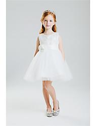 Vestido feminino princesa de joia com joia - colar de algodão sem mangas de algodão sem costura com arco (s) por lan ting bride®