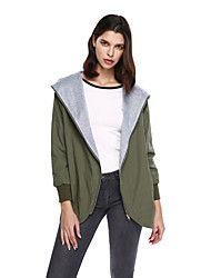Women's Going out Casual/Daily Simple Jackets,Solid Long Sleeve Green Cotton Polyester